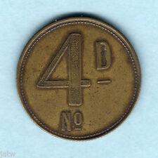 Australia. Barbers Check - 4d. OG & Co (Osborne Garrett & Co)..  Brass,27mm.  VF