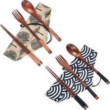 Portable Wooden Tableware Spoon Fork Chopsticks Cutlery Flatware 2 Sets Flatware