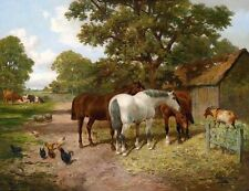 Wholesale oil painting horses and goat cocks cows house in landscape no framed