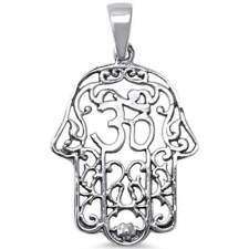 Plain Kabbalah Hand of God Om Evil Eye .925 Sterling Silver Charm Pendant