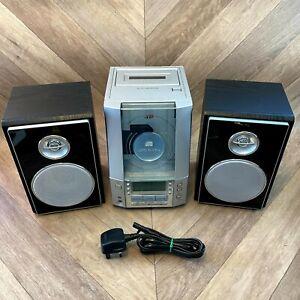 JVC UX-V100 CD Radio Compact Shelf Hifi Stereo Audio System AUX IN + Speakers