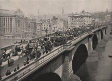 London Bridge, Looking North-West. London 1896 old antique print picture