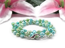 Freshwater Pearl Wrap Bracelet - Blue and Green Freshwater Pearl Wrap Bracelet