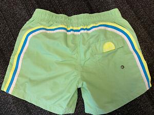 Size 14 Boy's Sundek Swim Trunks Neon Green Stripe Mesh Liner