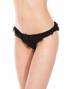 Plus Size Ruffled Mesh Lace Panty - Black - Size 16 to 20
