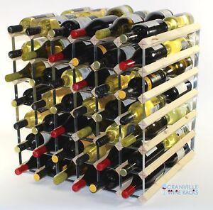 Double Profondeur 84 Bouteille Pin Bois et Métal Rack Vin Prêt à Utiliser