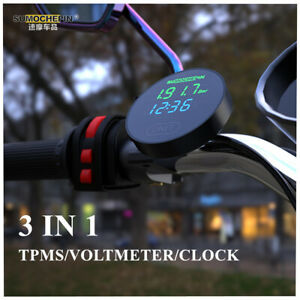 3 IN 1 Motorcycle TPMS Tire Pressure Monitor LED Display w/2 External Sensors
