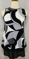 Long Black White Blouse JOSEPH RIBKOFF Stretch Top Sleeveless Gray Women 6 Small