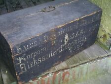 "Antique Pine Wood Painted Immigrant Trunk Chest Document Box 26"" x 13"" x 12"""
