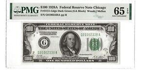 1928 $100 Federal Reserve Note - PMG65 EPQ - FR#2151 (Block GA) - Woods | Mellon