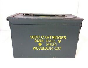 US Military Metal Ammo Can Box 1000 Cartridges 9MM Ball M882 Some Outside Rust