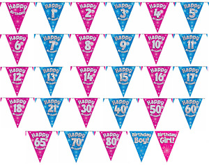 FLAG BANNER Pink Blue Holographic Happy Birthday Party BUNTING Decoration 12ft