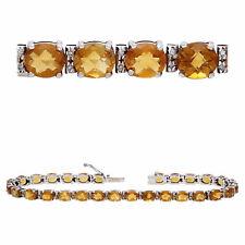 14k White Gold 9.50ctw Citrine & Diamond Tennis Bracelet
