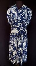 Muy Raro Vintage 591ms WWII era azul y Blanco Floral Sedoso rayón Vestido