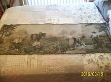 """Tapestry Wall Hanging Antique Machine Woven Courting Couple Farm 5'5"""" x 1'9"""""""