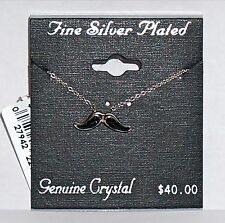 MUSTACHE Fine Silver-Plated Black Crystal Pendant with Chain Necklace New Tags