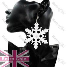 LARGE big SNOWFLAKE HIP HOP EARRINGS silver fashion BLACK/WHITE shiny acrylic