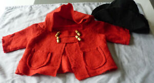 RED DUFFLE COAT & BLACK HAT - FOR LARGE PADDINGTON BEAR