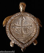 RARE Atocha 2 Reale coin in Diamond Encrusted 14K Gold TURTLE pendant 1 OF KIND!