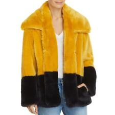 French Connection Womens Sebille Colorblock Faux Fur Coat Jacket BHFO 8980