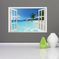 3D Window View Removable Beach Resort Wall Sticker Art Vinyl Decal Decor