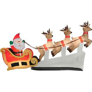 Christmas Gemmy 10.5 ft Wide Santa's Flying Reindeer Sleigh Airblown Inflatable