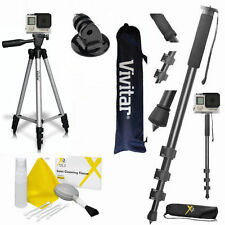 "Pro 72"" MONOPOD + 50"" VIVITAR TRIPOD + FOR GOPRO HERO5 BLACK FAST SHIP"