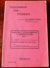 DALE, JACOB & ANSON HARMONY COUNTERPOINT & IMPROVISATION MUSIC BOOK I (1951)