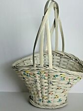 """Center Handle Small Basket Floral Decor Woven Rattan Multicolored Tabletop 12""""T"""