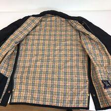 Classic BURBERRY jacket quilt navy blue vintage checks beige lined Sz 44 | A51