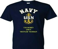 USS OGDEN  LPD-5  VIET VINYL & SILKSCREEN NAVY ANCHOR SHIRT/SWEAT