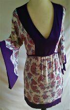 Buffalo David Bitton Mini Dress Women's XS Boho Festival Floral Bell Sleeve