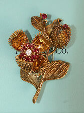 MAGNIFICENT TIFFANY & CO 18K GOLD RUBY, DIAMOND BROOCH