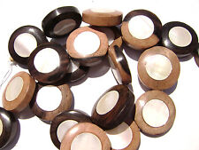 DJ-17 Ebony Wood Inlaid Makabibi MOP Shell Bead Component Disc Handmade Large