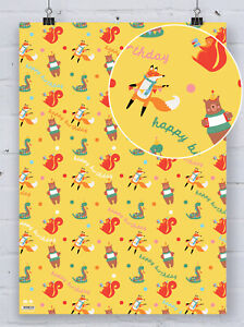 Cute Childrens Baby Gift Wrap Kids Party Animals Fox Bear Wrapping Paper Present