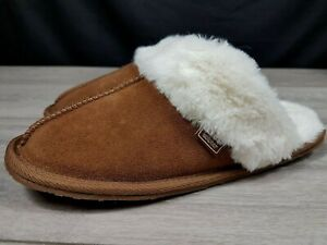 Totes Isotoner Slippers Debenhams Suede Leather Collection UK 5-6 Tan Fluffy