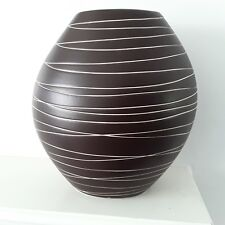 Ceramic Decorative Art Vase brown striped home decor Modern flowers Table disc