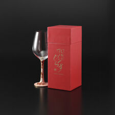 (Design of Red Sakura) Red Wine Glass w/ Handmade Kutani-yaki Porcelain Stem