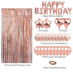 Lantch Balloons Set Party Decorations,Happy Birthday Banner,Confetti Balloon,Latex Balloon,Foil Balloon,Balloon Ribbon,Rose Gold Balloons Party Supplies for Birthday,Halloween,Christmas Rose gold