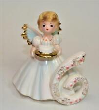 "50s Josef Originals Porcelain Birthday Angel 6 Years White Dress 4 1/2"" Figurine"