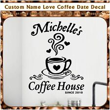 Personalized Love Coffee Cup Date Kitchen Stickers Wall Cafe Vinyl Decal 1C 109