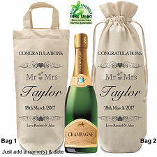 Bottle Bag Personalised Wedding Day Gift Champagne Wine Carrying Bag Wrapping