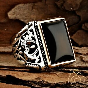 Man Onyx Ring Rectangle Engraved Silver Black Ring For Men Size Gemstone Jewelry