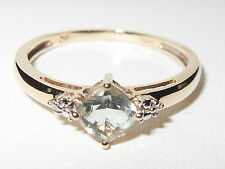 Beautiful 9ct Yellow Gold Cushion cut Pale Green Amethyst & Diamond Ring