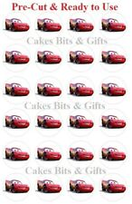 24x CARS LIGHTNING MCQUEEN  Edible Wafer Cupcake Toppers Pre Cut & Ready to Use.