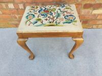 Antique vintage tapestry dressing table seat stool embroidered embroidery