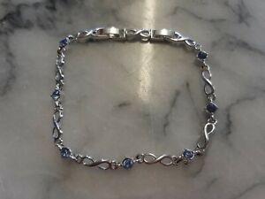 Pretty Avon Silver Colour Chain Link Bracelet With Pale Blue Stones Damaged Box