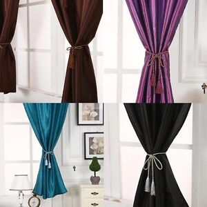 1 X Satin 145*180cm Solid Color Blackout Finished Curtain with 1 String Cord