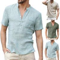 Summer Men Tops V-Neck Short Sleeve T Shirt Casual Linen Shirt Tees Loose