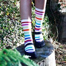 K.Bell Black White Bright Stripe Mary Jane design  Socks Crew Womans Socks New